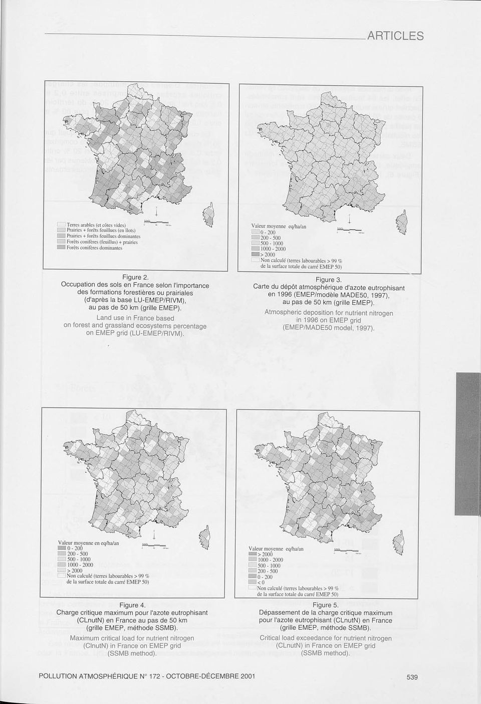 Land use in France based on forest and grassland ecosystems percentage on EMEP grid (LU-EMEP/RIVM). Valeur moyenne eqlhalan C O- 200.