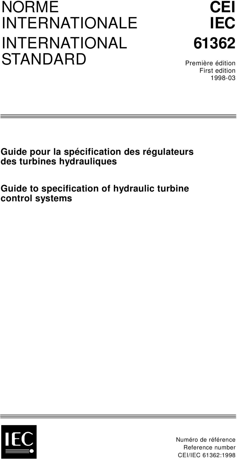 régulateurs des turbines hydrauliques Guide to specification of