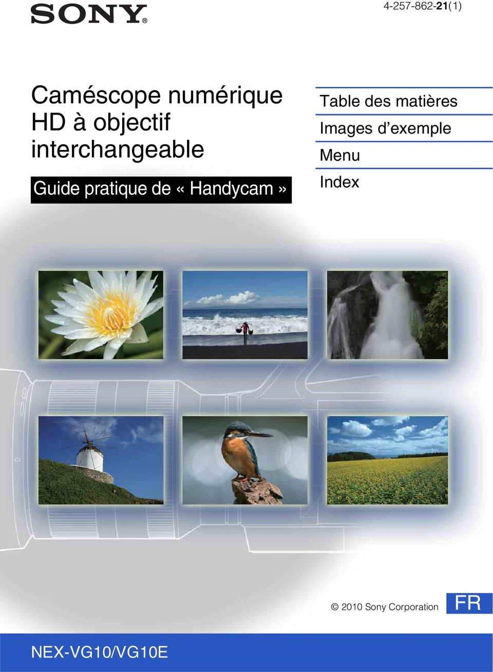pratique de «Handycam» Menu Index
