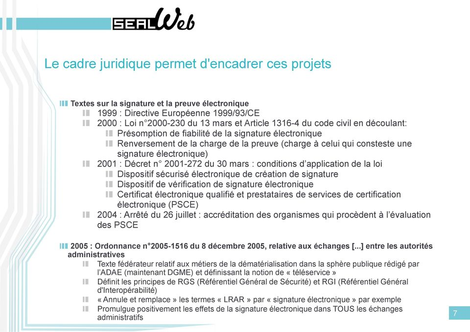 30 mars : conditions d application de la loi Dispositif sécurisé électronique de création de signature Dispositif de vérification de signature électronique Certificat électronique qualifié et