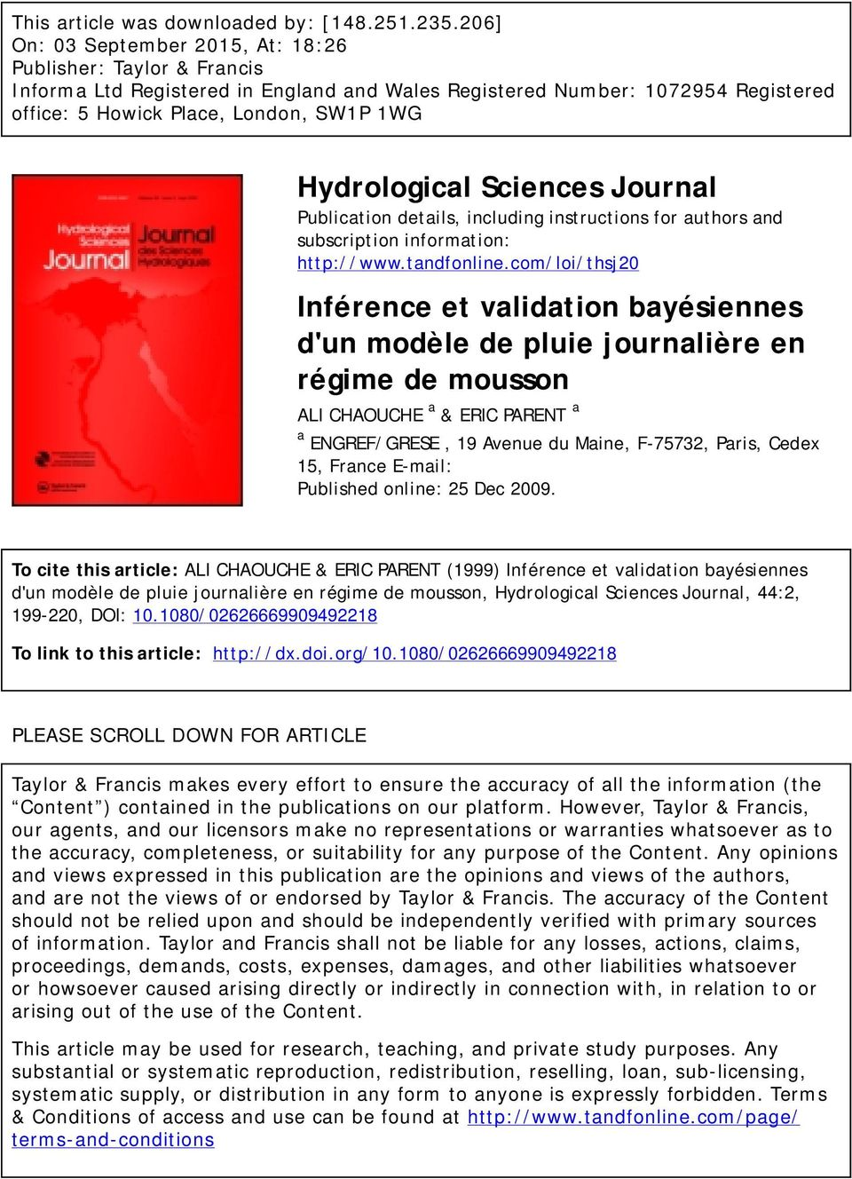 Hydrological Sciences Journal Publication details, including instructions for authors and subscription information: http://www.tandfonline.