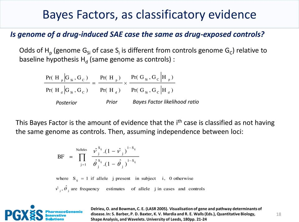 ) Pr( Pr( G G Si Si, G, G C C H H p d ) ) Posterior Prior Bayes Factor likelihood ratio This Bayes Factor is the amount of evidence that the i th case is classified as not having the same genome as
