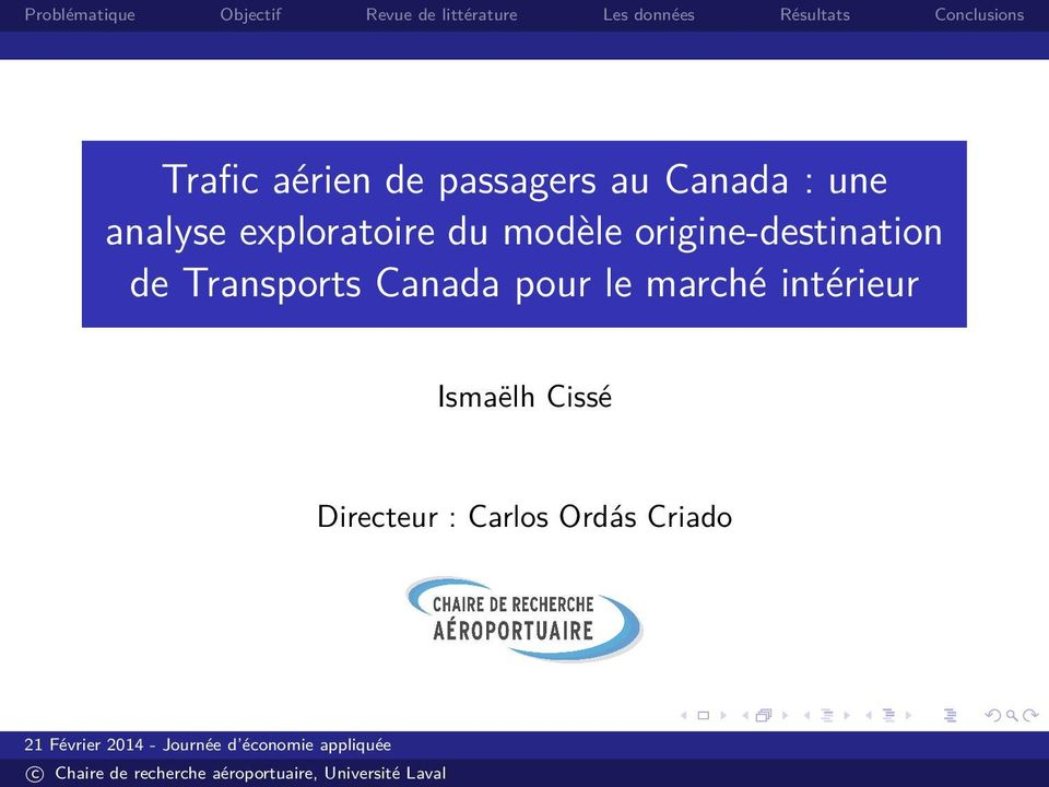origine-destination de Transports Canada pour