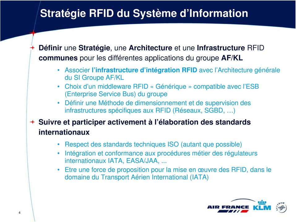 et de supervision des infrastructures spécifiques aux RFID (Réseaux, SGBD, ) Suivre et participer activement à l élaboration des standards internationaux Respect des standards techniques ISO (autant
