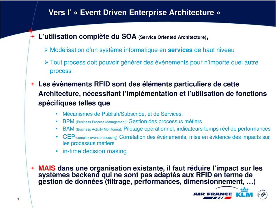 spécifiques telles que Mécanismes de Publish/Subscribe, et de Services, BPM (Business Process Management): Gestion des processus métiers BAM (Business Activity Monitoring): Pilotage opérationnel,
