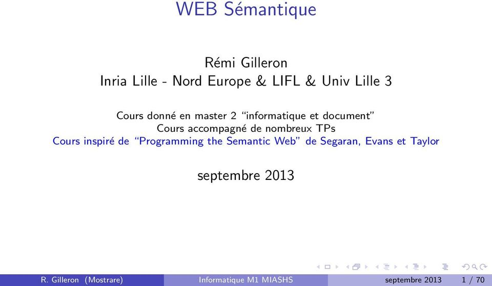 TPs Cours inspiré de Programming the Semantic Web de Segaran, Evans et Taylor