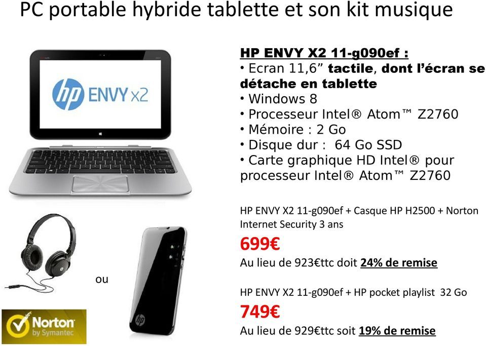 processeur Intel Atom Z2760 ou HP ENVY X2 11-g090ef + Casque HP H2500 + Norton Internet Security 3 ans 699 Au lieu
