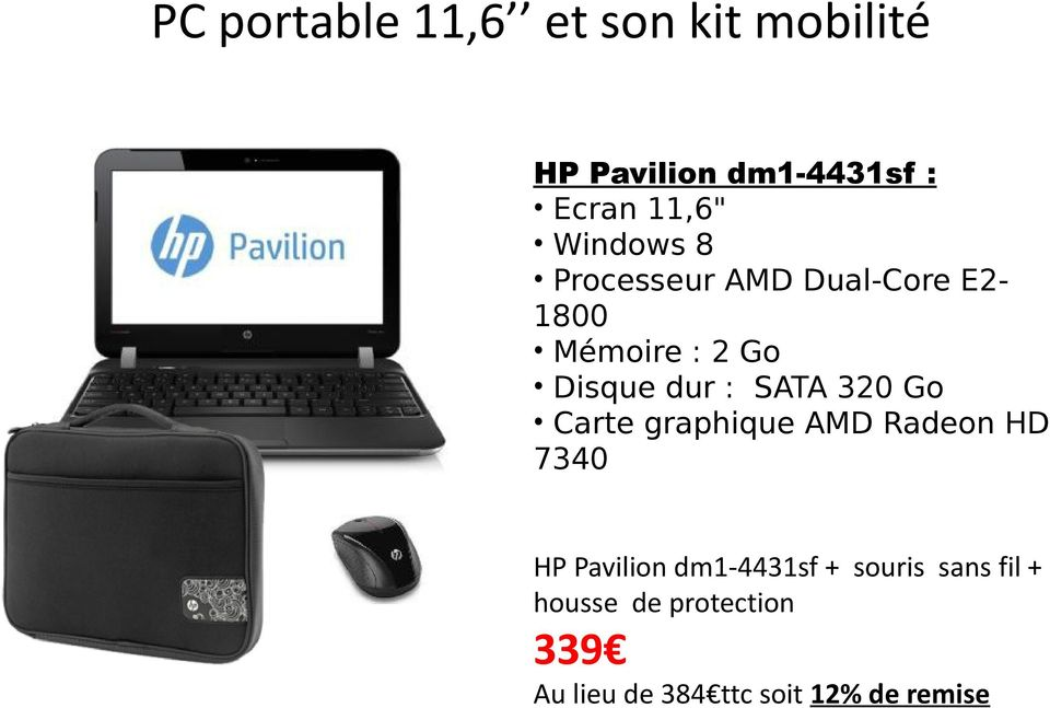 320 Go Carte graphique AMD Radeon HD 7340 HP Pavilion dm1-4431sf +