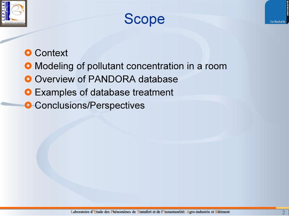 PANDORA database Examples of