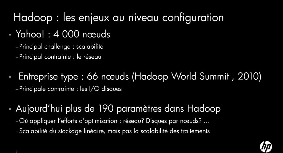 nœuds (Hadoop World Summit, 2010) Principale contrainte : les I/O disques ujourd hui plus de 190