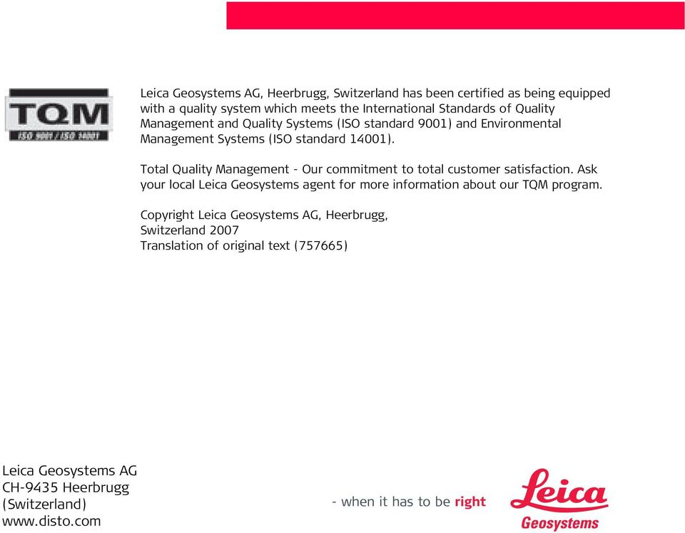 Total Quality anagement - Our commitment to total customer satisfaction.