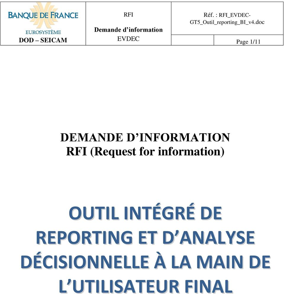 doc Page 1/11 DEMANDE D INFORMATION RFI (Request for