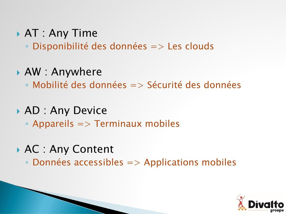 données AD : Any Device Appareils => Terminaux mobiles