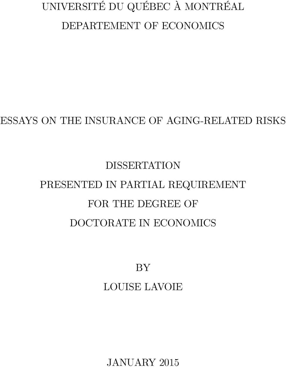 RISKS DISSERTATION PRESENTED IN PARTIAL REQUIREMENT