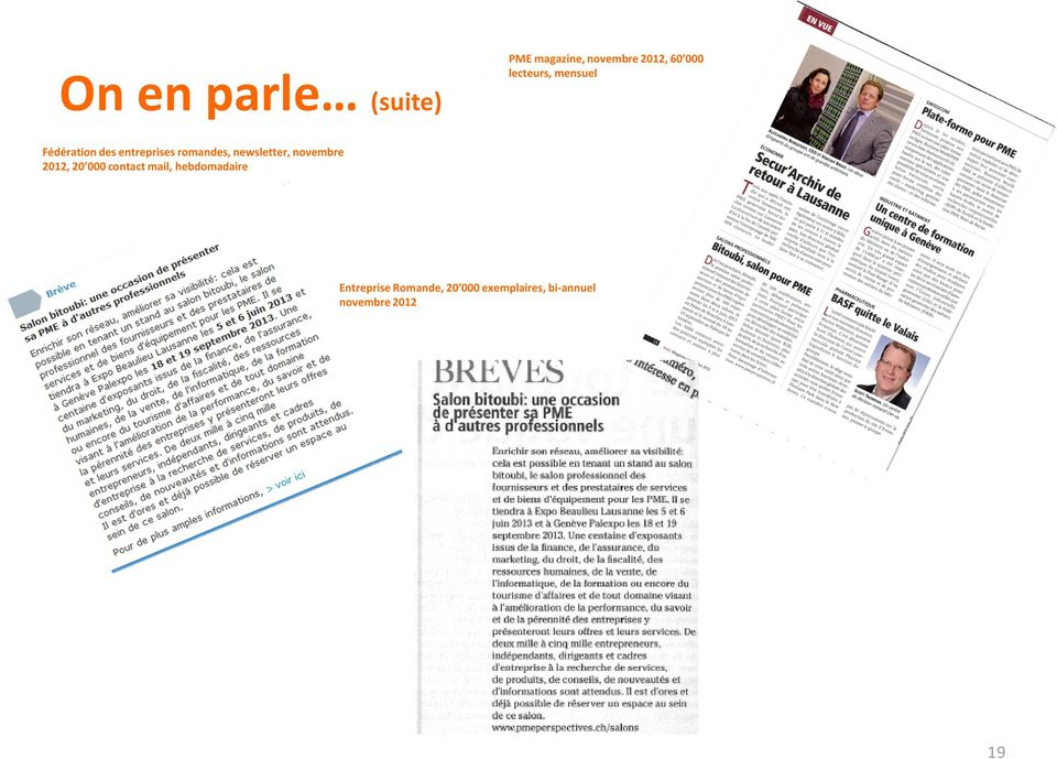 newsletter, novembre 2012, 20 000 contact mail,