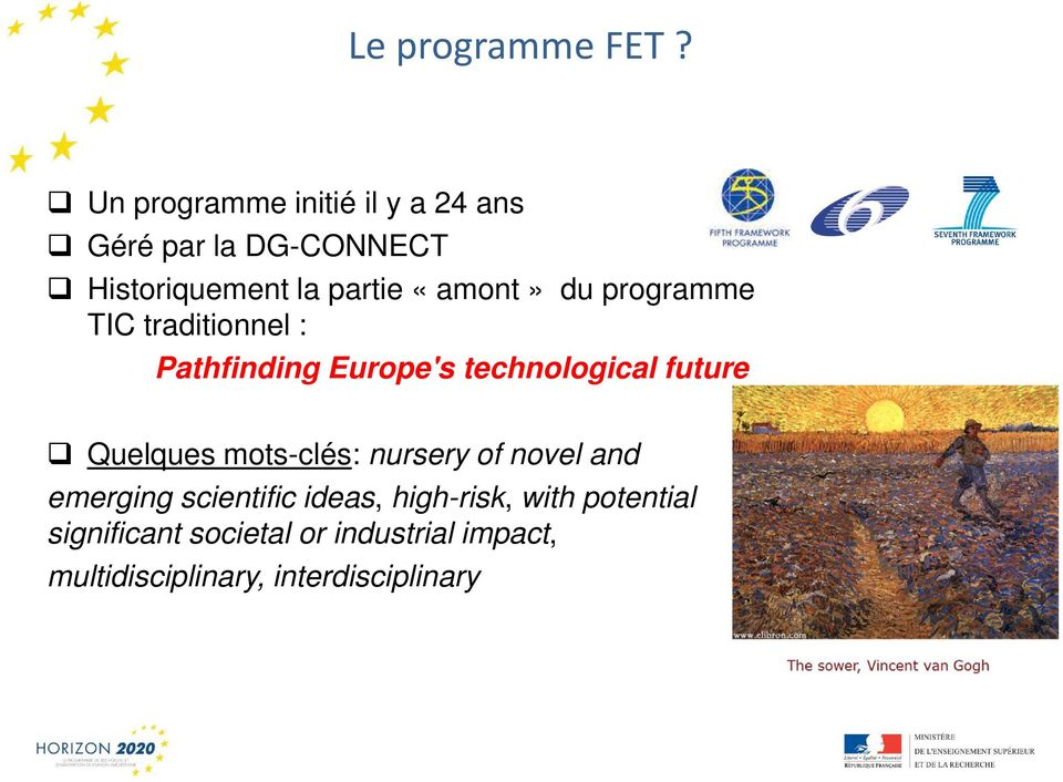 «amont» du programme TIC traditionnel : Pathfinding Europe's technological future
