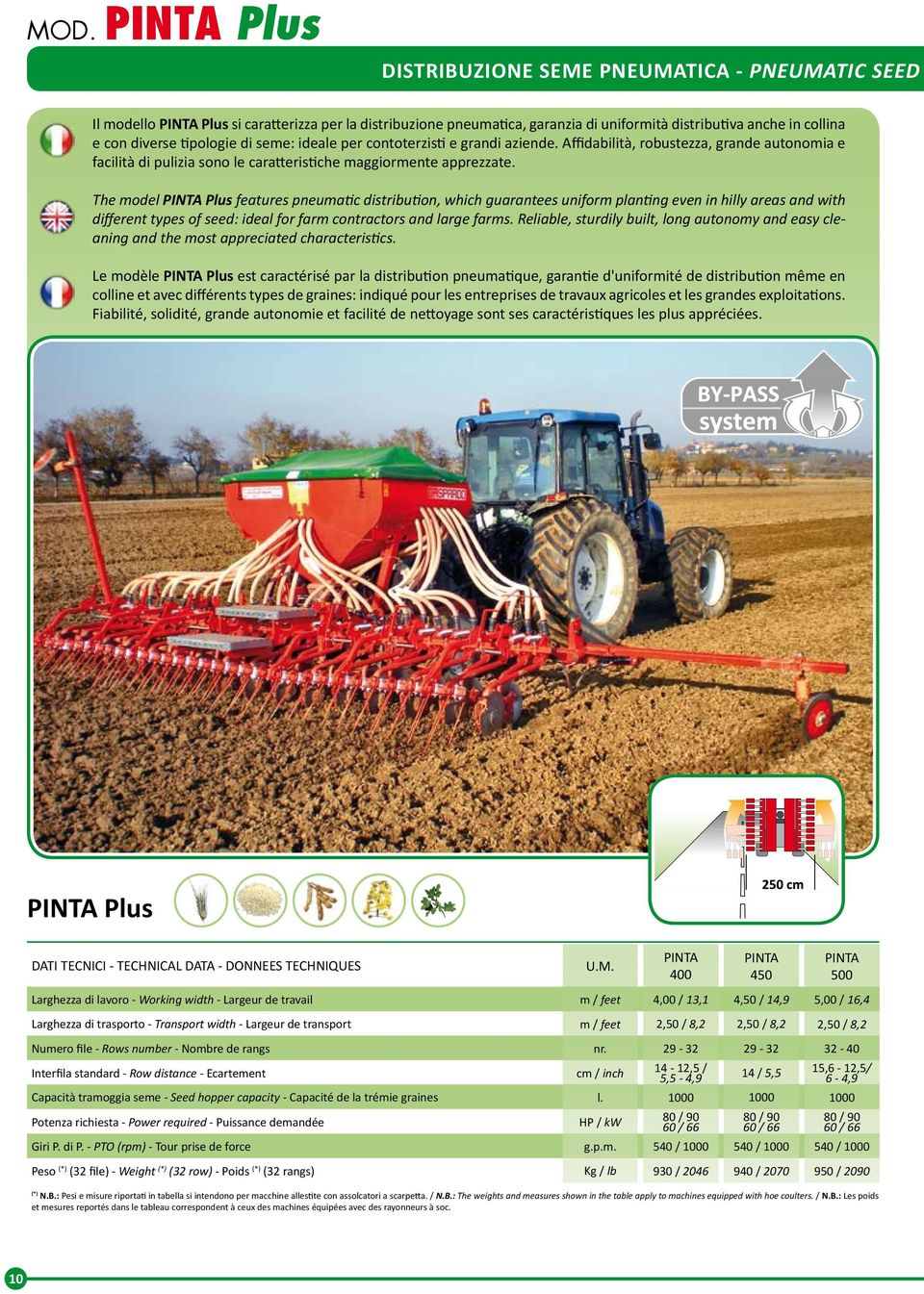 The model PINTA Plus features pneumatic distribution, which guarantees uniform planting even in hilly areas and with different types of seed: ideal for farm contractors and large farms.