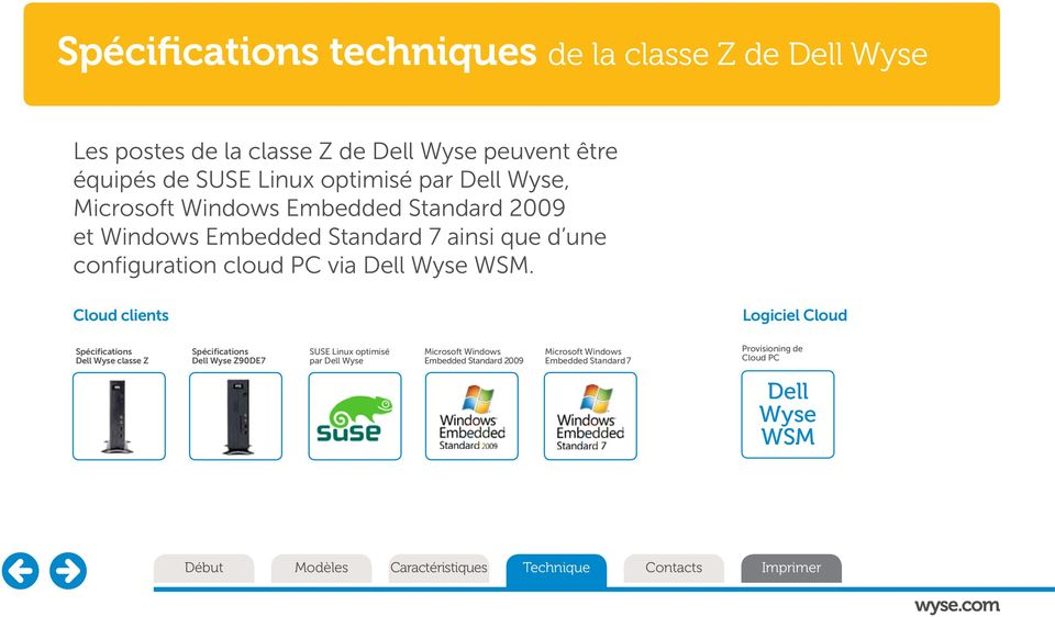 Cloud clients Logiciel Cloud Spécifications Dell Wyse classe Z Spécifications Dell Wyse Z90DE7 SUSE Linux optimisé par Dell Wyse Microsoft Windows