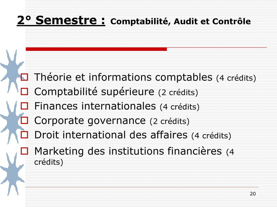 internationales (4 crédits) Corporate governance (2 crédits) Droit