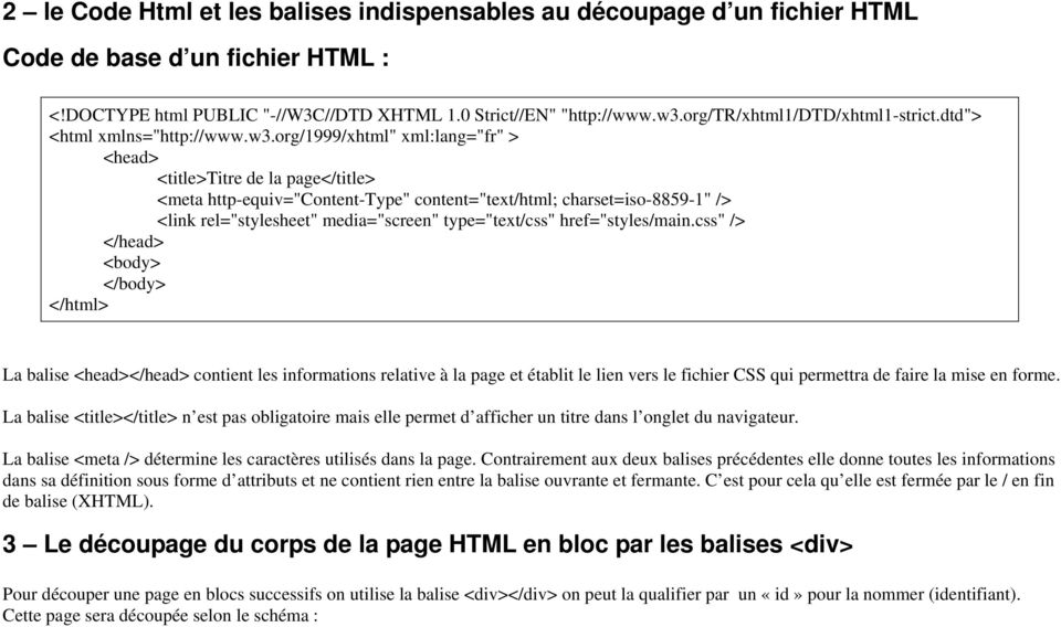 "org/1999/xhtml"" xml:lang=""fr"" > <head> <title>titre de la page</title> <meta http-equiv=""content-type"" content=""text/html; charset=iso-8859-1"" /> <link rel=""stylesheet"" media=""screen"" type=""text/css"""