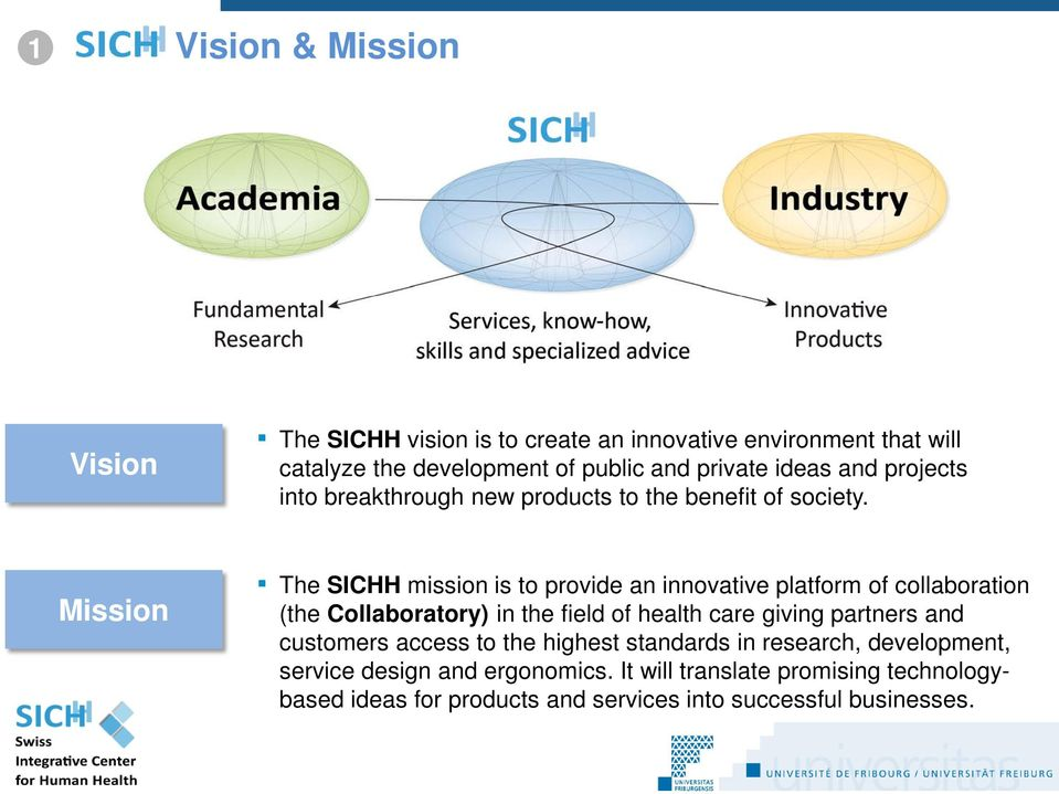 Mission The SICHH mission is to provide an innovative platform of collaboration (the Collaboratory) in the field of health care giving