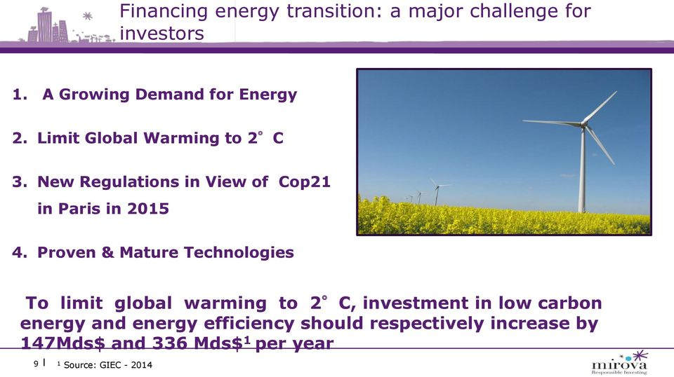 Proven & Mature Technologies To limit global warming to 2 C, investment in low carbon energy