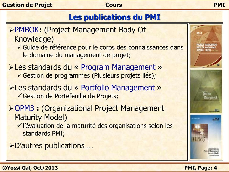 standards du «Portfolio Management» Gestion de Portefeuille de Projets; OPM3 : (Organizational Project Management Maturity