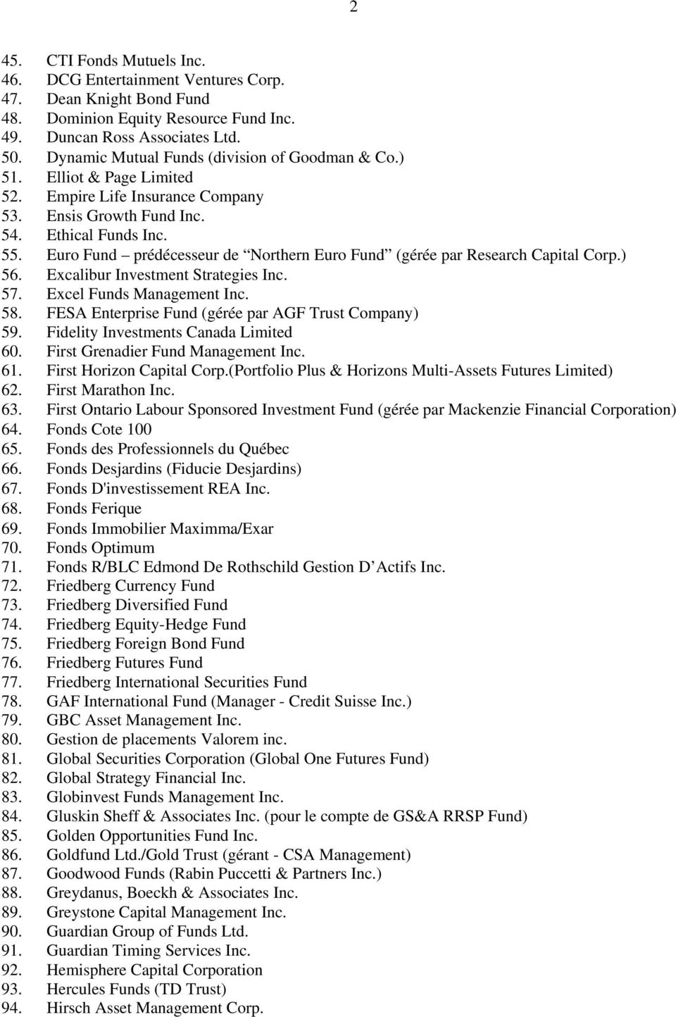 Euro Fund prédécesseur de Northern Euro Fund (gérée par Research Capital Corp.) 56. Excalibur Investment Strategies Inc. 57. Excel Funds Management Inc. 58.