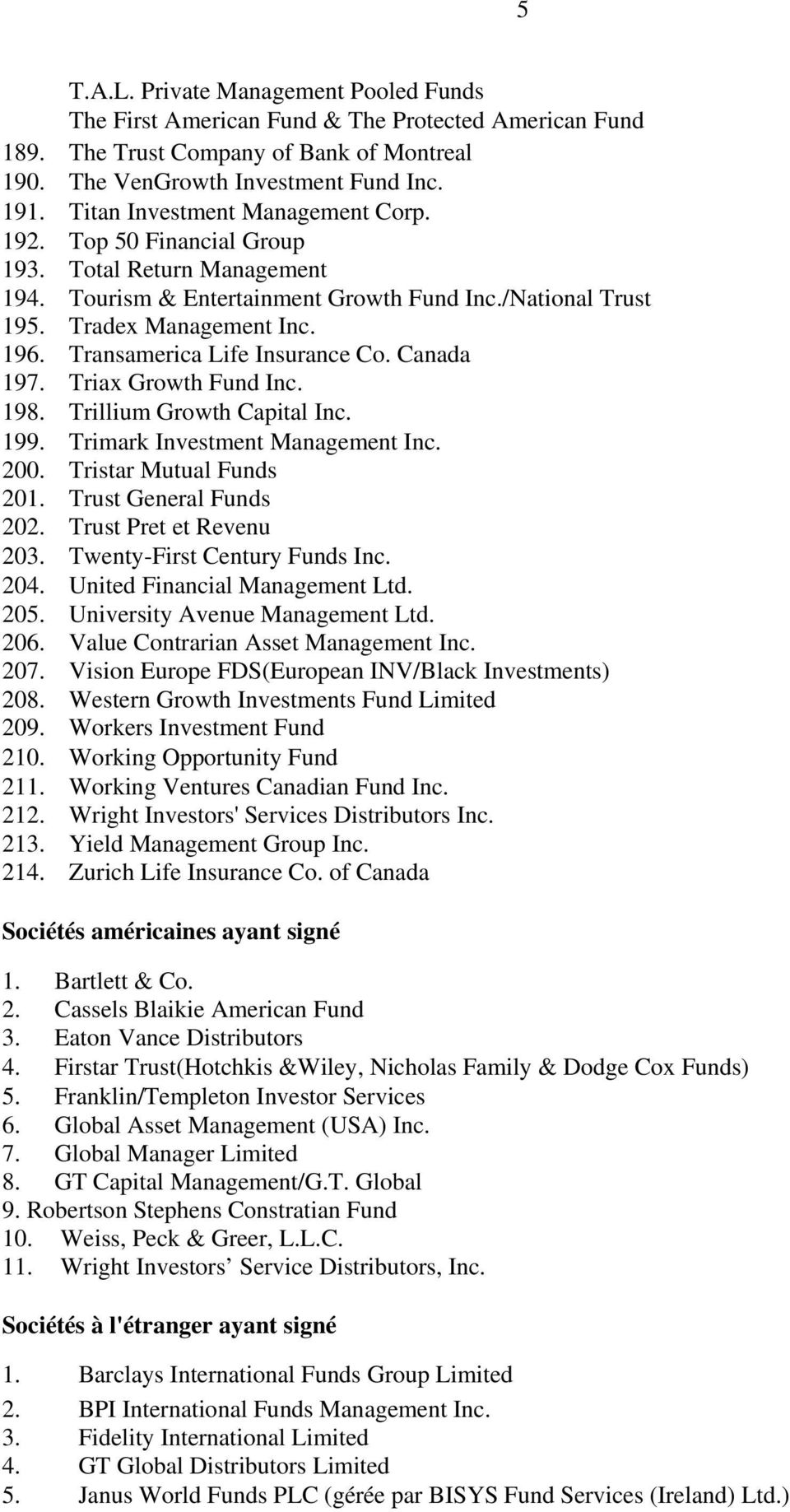 Transamerica Life Insurance Co. Canada 197. Triax Growth Fund Inc. 198. Trillium Growth Capital Inc. 199. Trimark Investment Management Inc. 200. Tristar Mutual Funds 201. Trust General Funds 202.