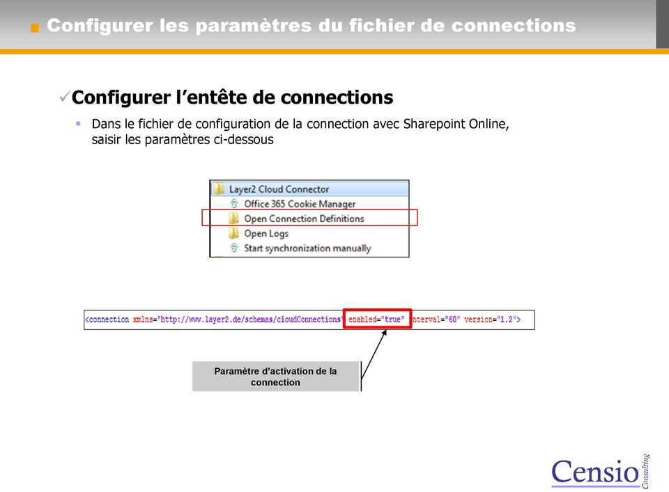 configuration de la connection avec Sharepoint Online,