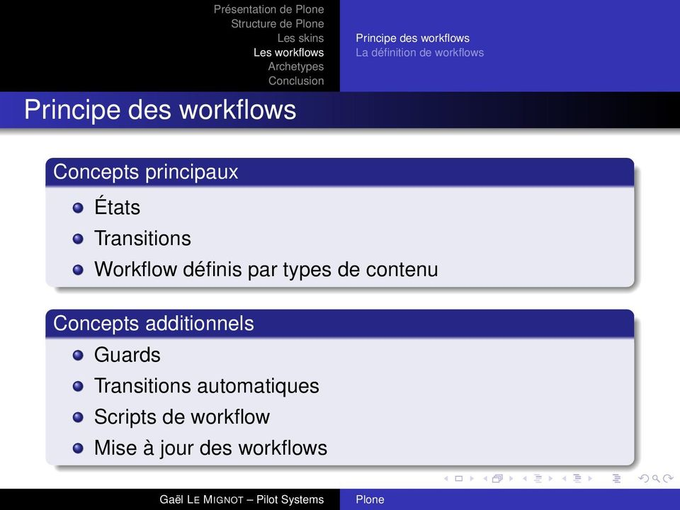 Transitions Workflow définis par types de contenu Concepts