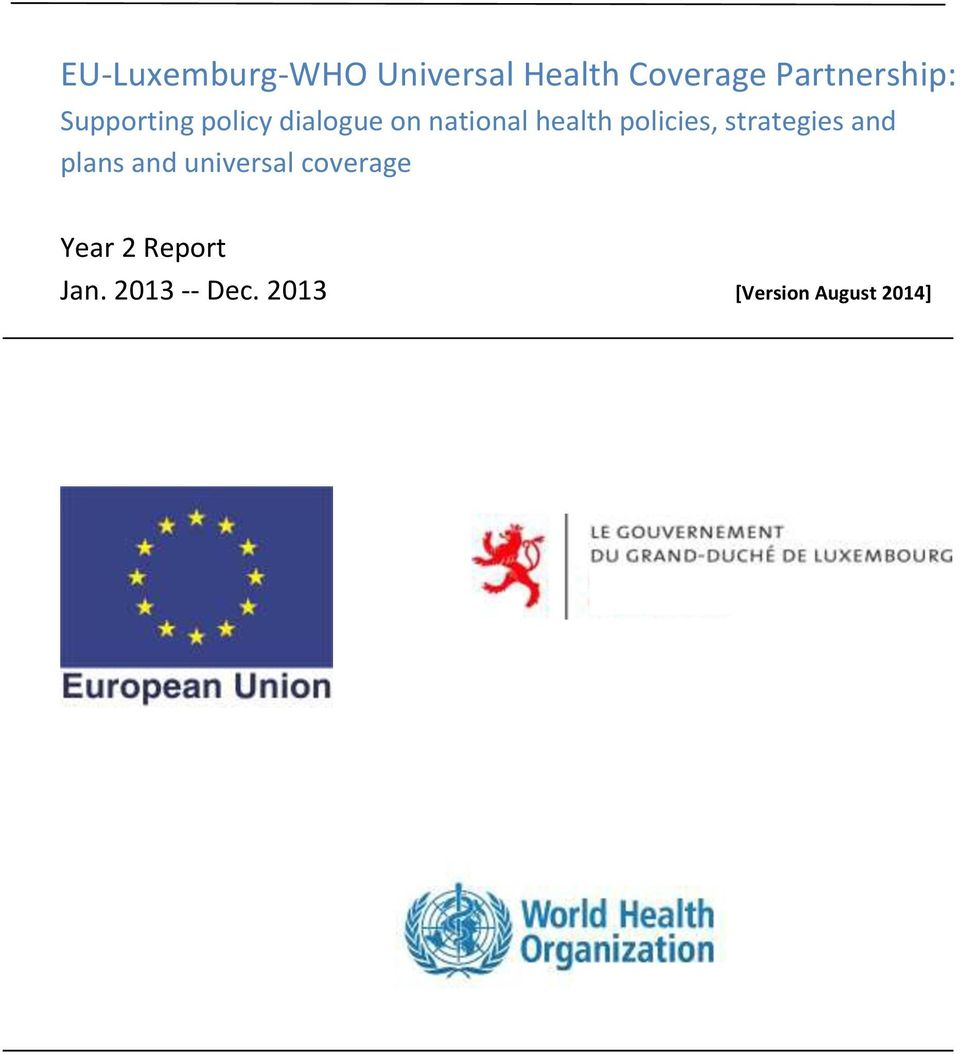 health policies, strategies and plans and universal