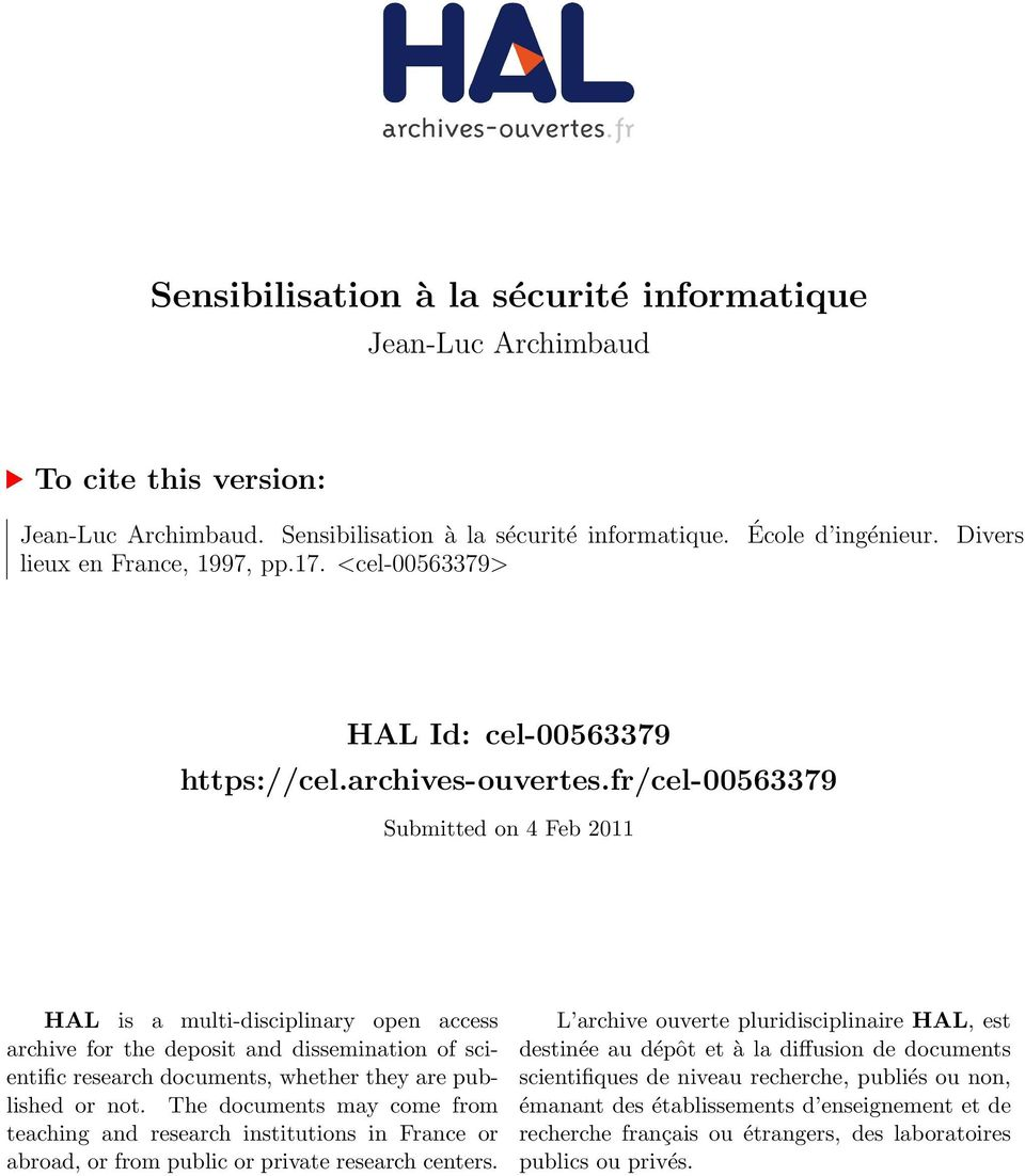 fr/cel-00563379 Submitted on 4 Feb 2011 HAL is a multi-disciplinary open access archive for the deposit and dissemination of scientific research documents, whether they are published or not.