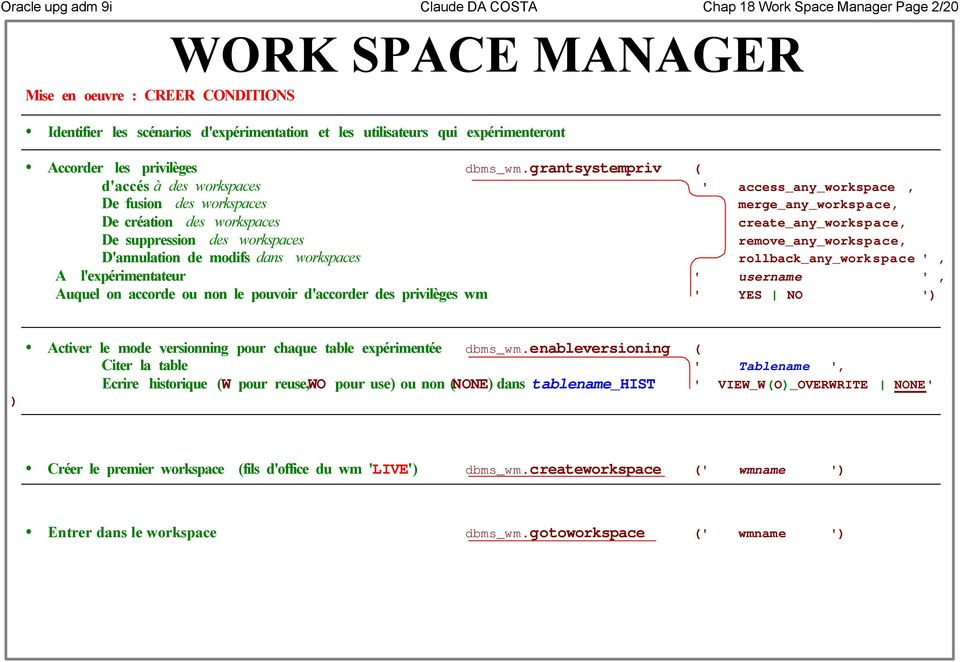 grantsystempriv daccés à des workspaces access_any_workspace, De fusion des workspaces merge_any_workspace, De création des workspaces create_any_workspace, De suppression des workspaces
