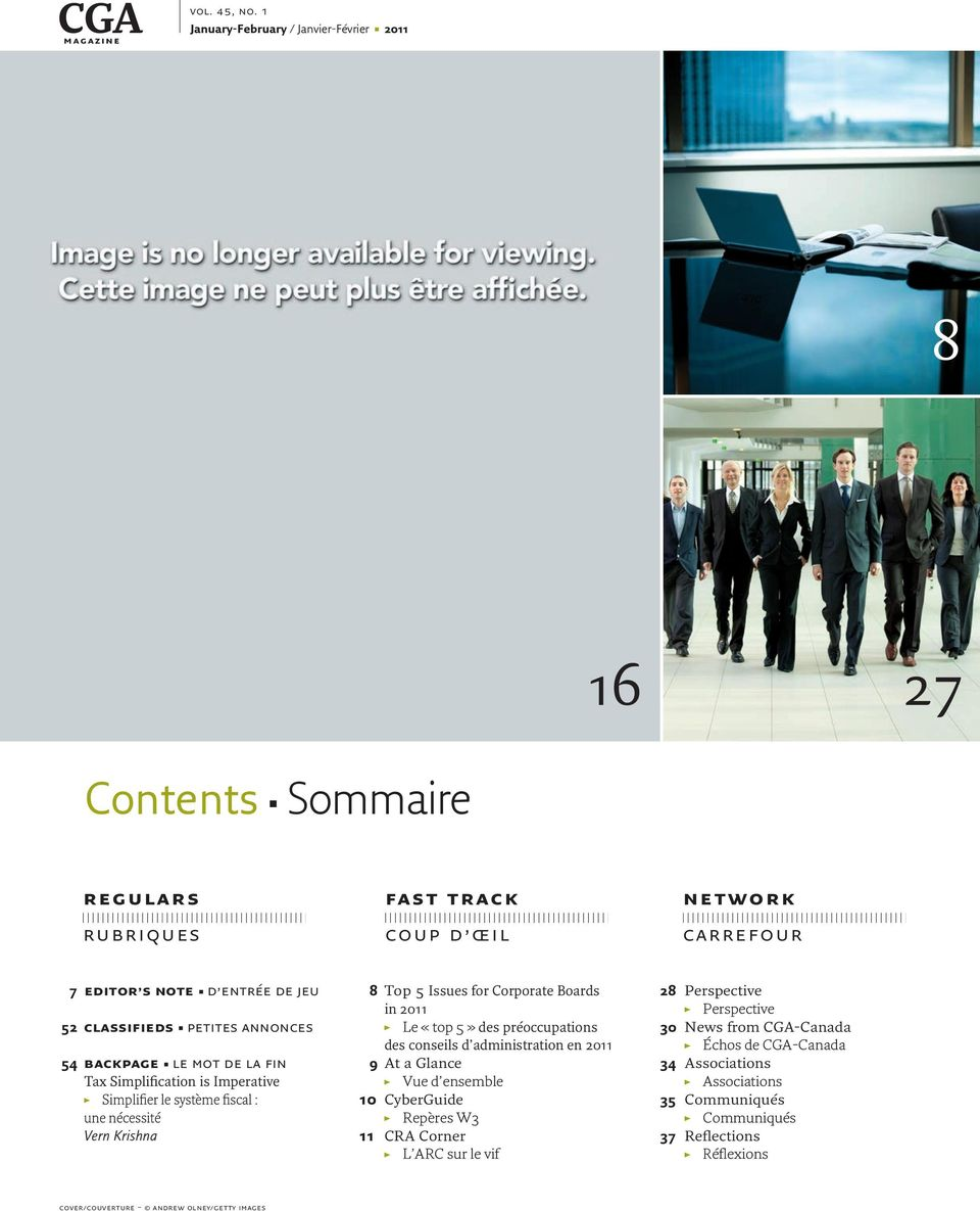 annonces 54 backpage le mot de la fin Tax Simplification is Imperative Simplifier le système fiscal : une nécessité Vern Krishna 8 Top 5 Issues for Corporate Boards in 2011 Le «top