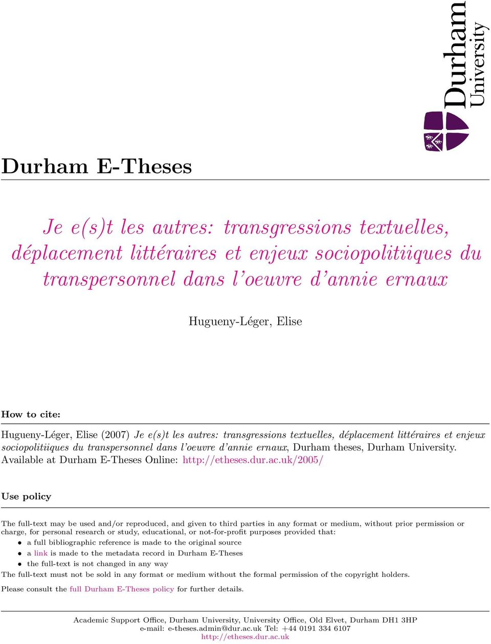 University. Available at Durham E-Theses Online: http://etheses.dur.ac.