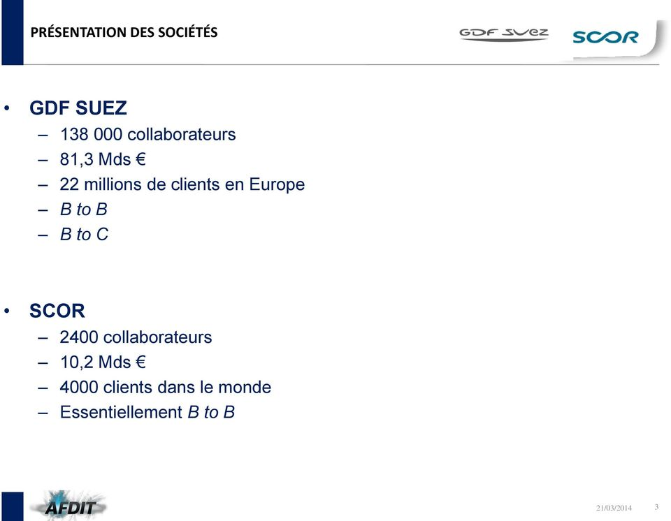 Europe B to B B to C SCOR 2400 collaborateurs