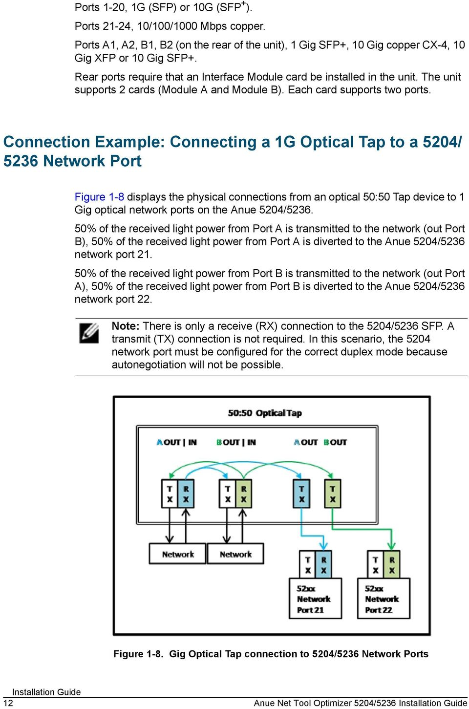 Connection Example: Connecting a 1G Optical Tap to a 5204/ 5236 Network Port Figure 1-8 displays the physical connections from an optical 50:50 Tap device to 1 Gig optical network ports on the Anue