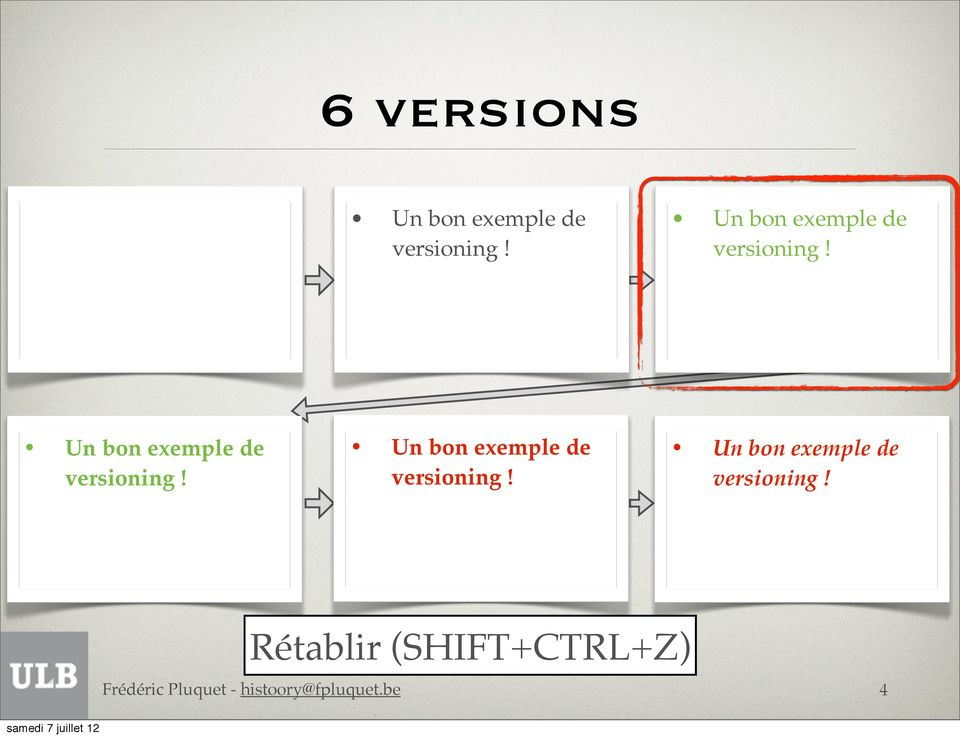 Rétablir (SHIFT+CTRL+Z) 4