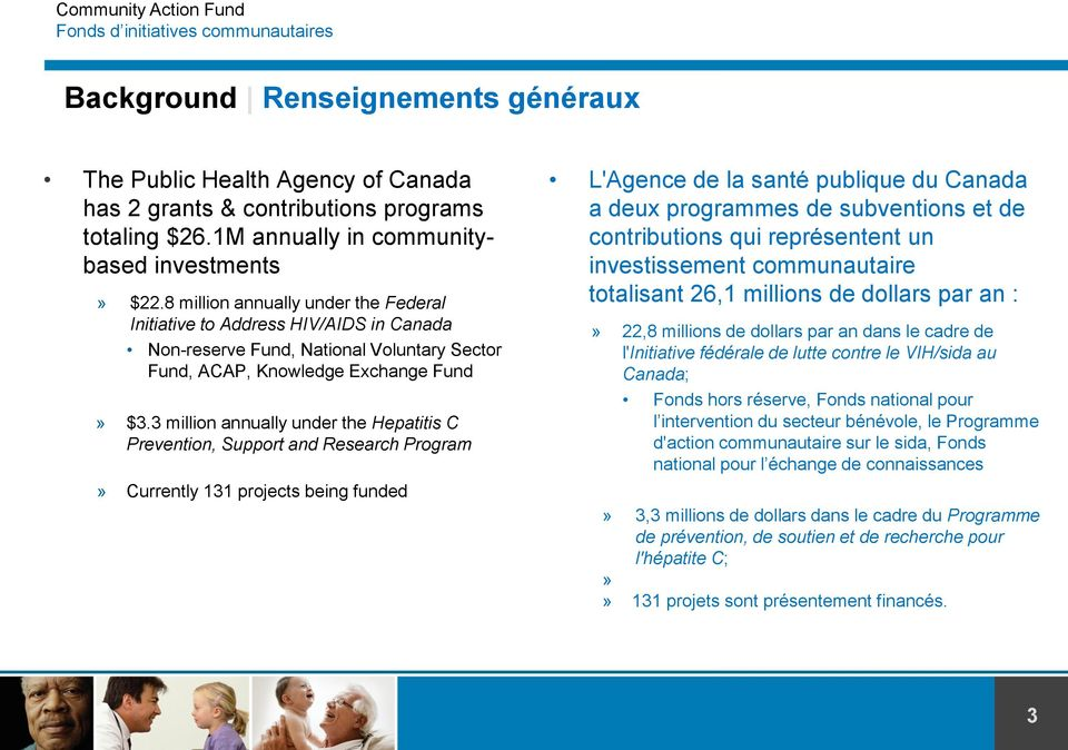 3 million annually under the Hepatitis C Prevention, Support and Research Program» Currently 131 projects being funded L'Agence de la santé publique du Canada a deux programmes de subventions et de