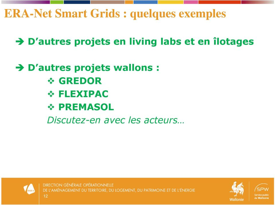 îlotages D autres projets wallons : GREDOR