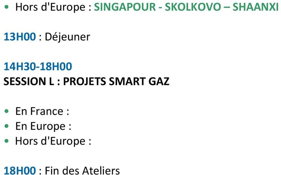 SESSION L : PROJETS SMART GAZ