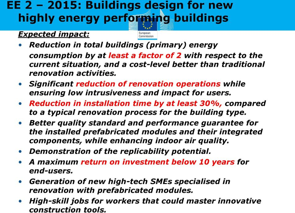 Reduction in installation time by at least 30%, compared to a typical renovation process for the building type.