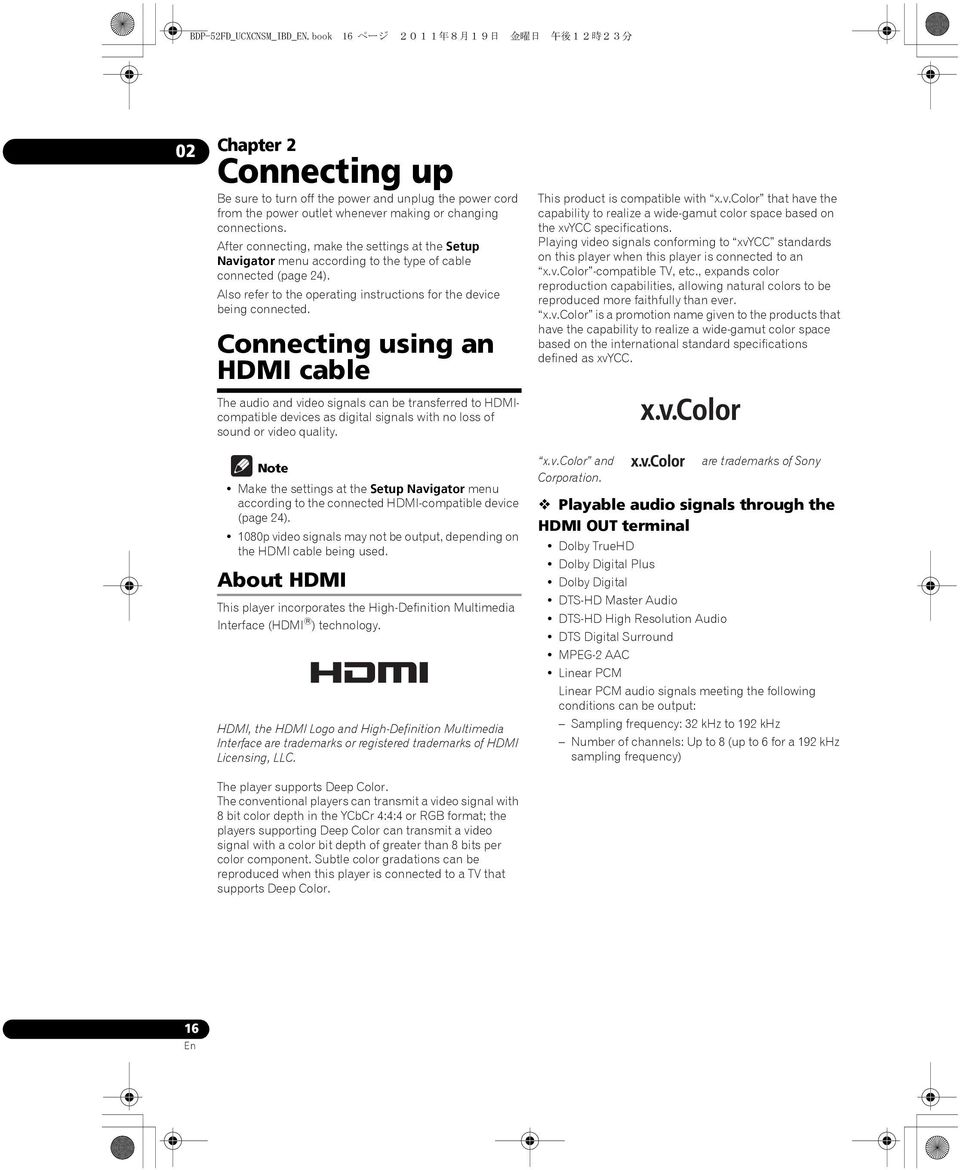 After connecting, make the settings at the Setup Navigator menu according to the type of cable connected (page 24). Also refer to the operating instructions for the device being connected.