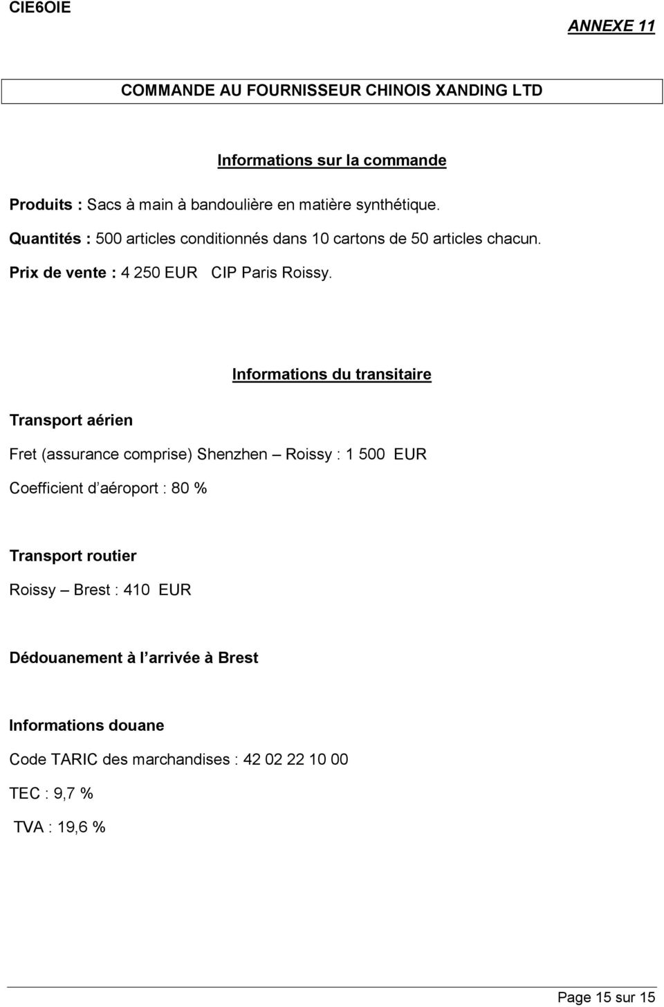 Informations du transitaire Transport aérien Fret (assurance comprise) Shenzhen Roissy : 1 500 EUR Coefficient d aéroport : 80 % Transport