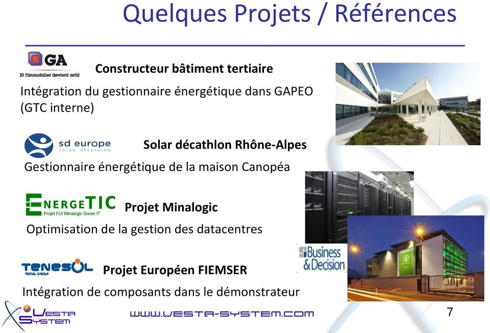 maison Canopéa N E R G E T IC Projet FUI Minalogic Green IT Projet Minalogic Optimisation de la