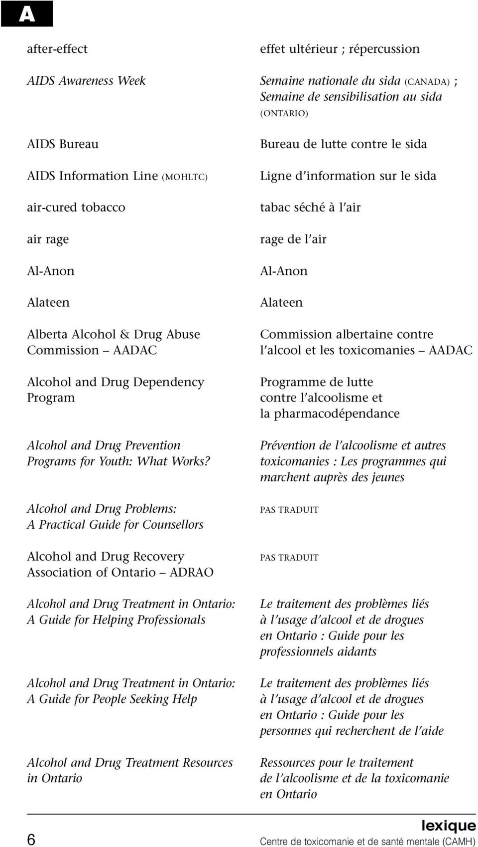 Alcohol and Drug Problems: A Practical Guide for Counsellors Alcohol and Drug Recovery Association of Ontario ADRAO Alcohol and Drug Treatment in Ontario: A Guide for Helping Professionals Alcohol