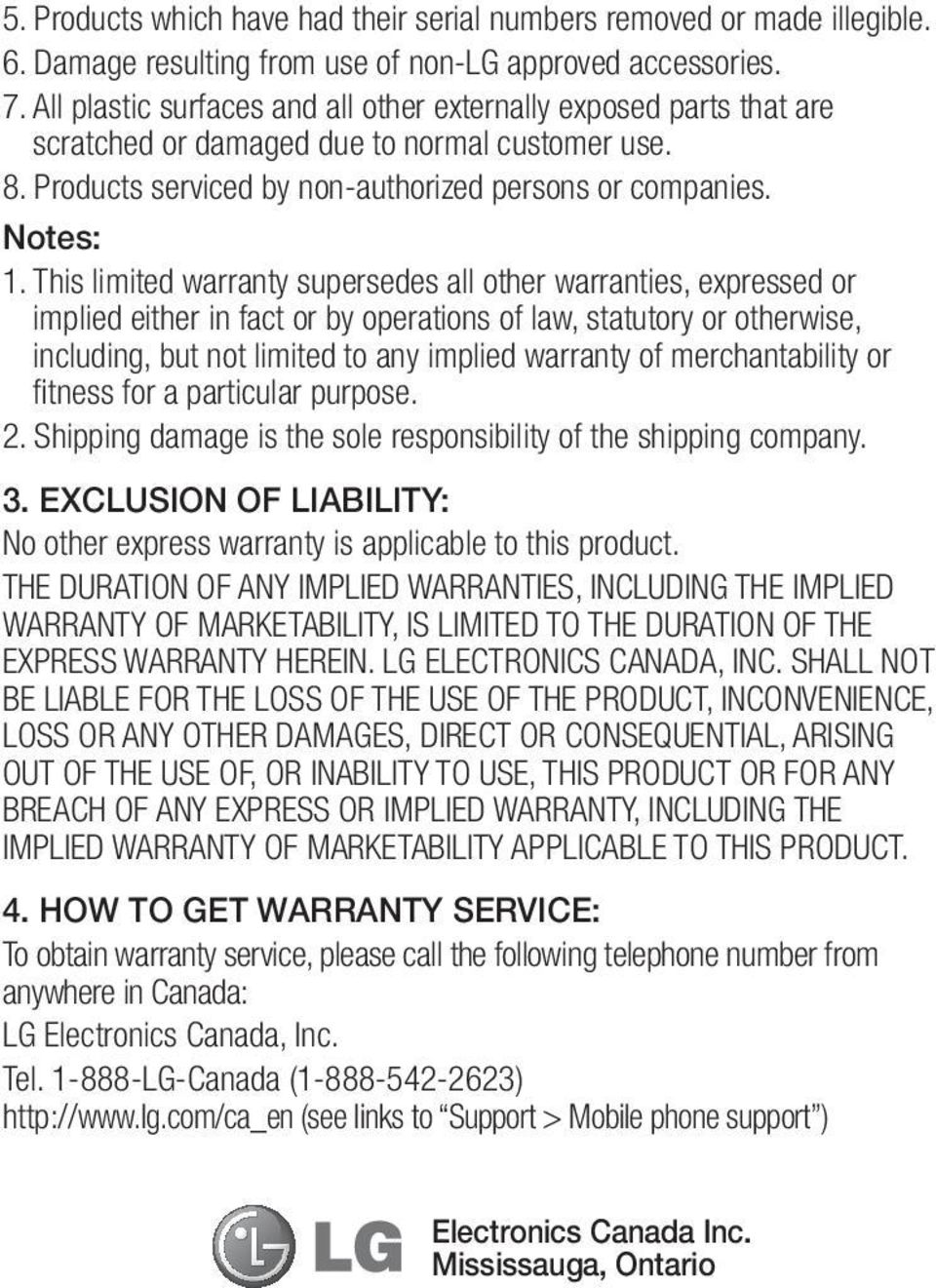 This limited warranty supersedes all other warranties, expressed or implied either in fact or by operations of law, statutory or otherwise, including, but not limited to any implied warranty of