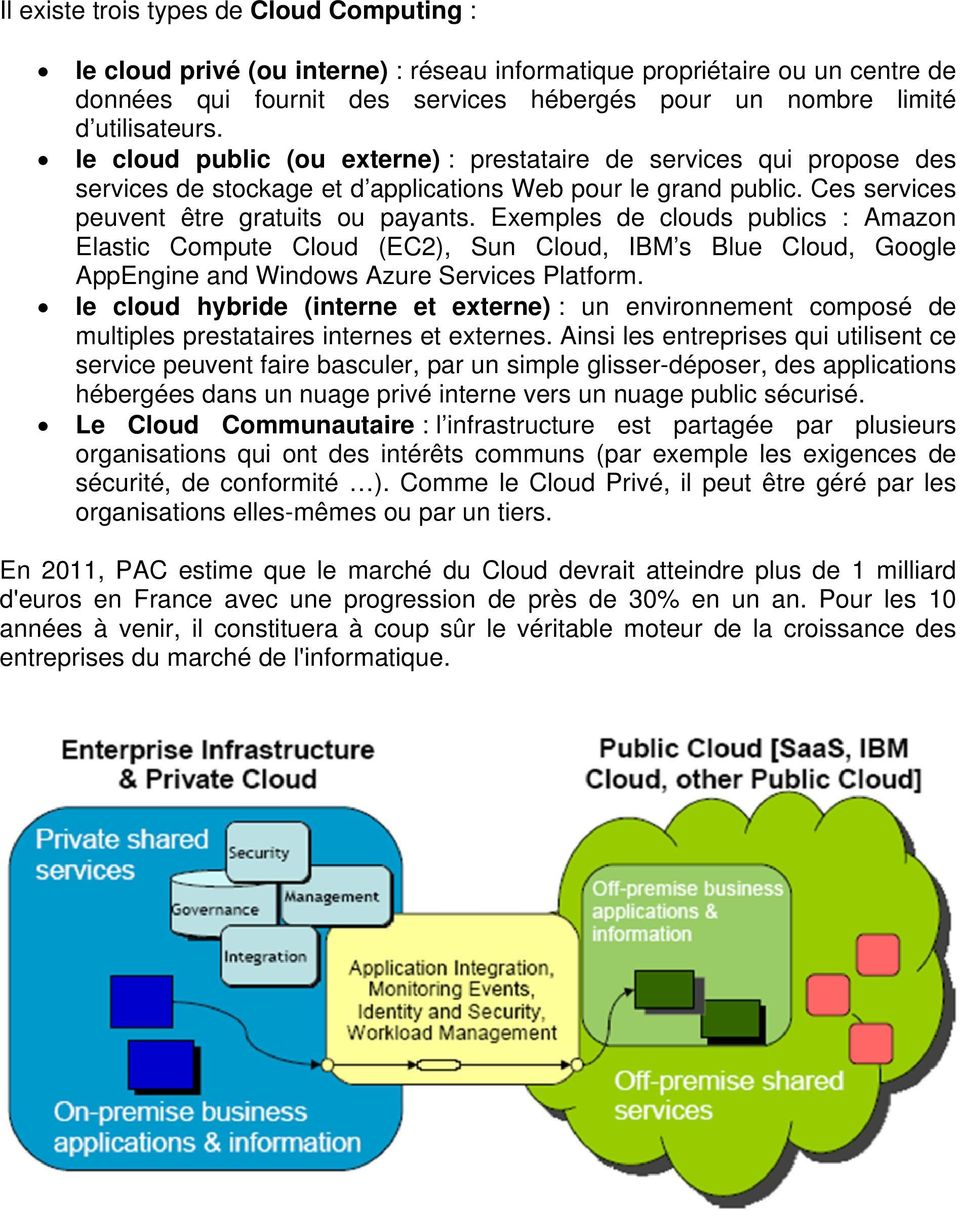 Exemples de clouds publics : Amazon Elastic Compute Cloud (EC2), Sun Cloud, IBM s Blue Cloud, Google AppEngine and Windows Azure Services Platform.