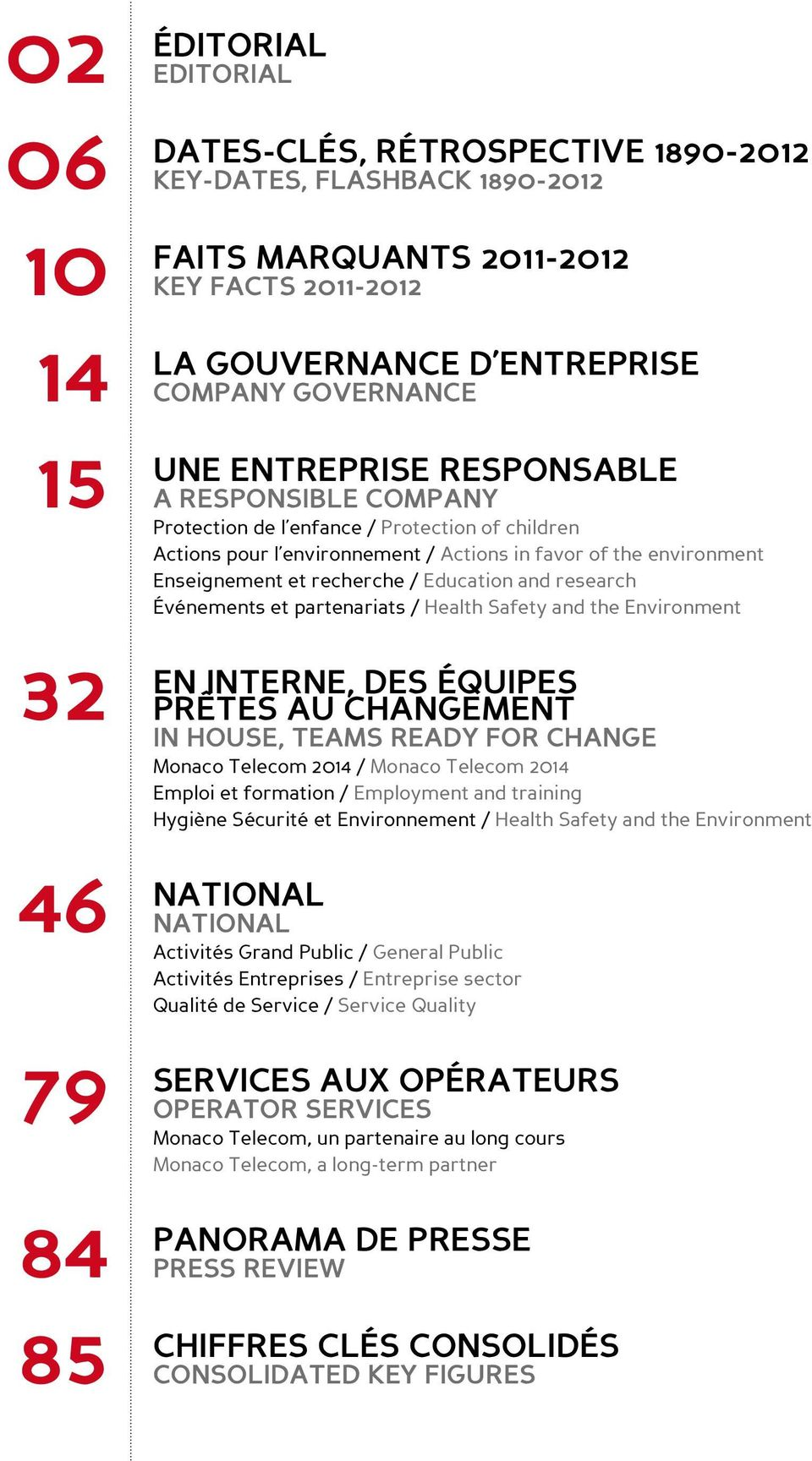 recherche / Education and research Événements et partenariats / Health Safety and the Environment EN INTERNE, DES ÉQUIPES PRÊTES AU CHANGEMENT IN HOUSE, Teams ready for change Monaco Telecom 2014 /